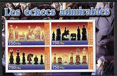 Burundi 2004 Chess Pieces #01 imperf sheetlet containing 4 values unmounted mint