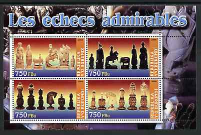 Burundi 2004 Chess Pieces #01 perf sheetlet containing 4 values unmounted mint