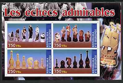 Burundi 2004 Chess Pieces #02 imperf sheetlet containing 4 values unmounted mint