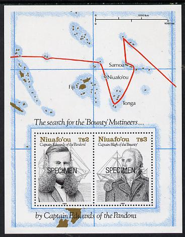 Tonga - Niuafo'ou 1991 Charting m/sheet opt'd SPECIMEN (Capt Bligh, Edwards, their Ships & Course) unmounted mint, as SG MS 155