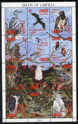 Liberia 1993 Birds of Liberia perf sheetlet containing 12 values unmounted mint
