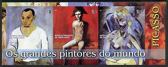 Timor 2004 Great Painters of the World - Picasso imperf sheetlet containing 3 values unmounted mint