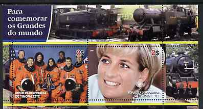 Timor 2004 Commemorating World Greats #03 perf sheetlet containing 2 values (Space Crew & Diana) unmounted mint