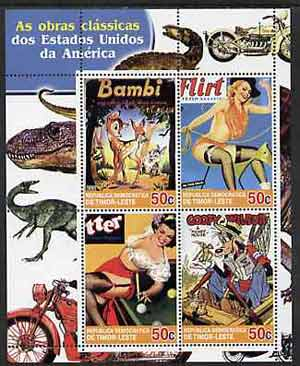 Timor 2004 Classics from the USA #01 perf sheetlet containing 4 values (Bambi, Mickey Mouse & Pin-ups) unmounted mint