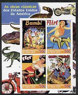 Timor 2004 Classics from the USA #01 imperf sheetlet containing 4 values (Bambi, Mickey Mouse & Pin-ups) unmounted mint