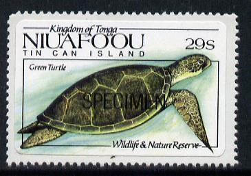Tonga - Niuafo'ou 1984 Wildlife & Nature Reserve self-adhesive 29s (green Turtle) opt'd SPECIMEN, as SG 42 unmounted mint