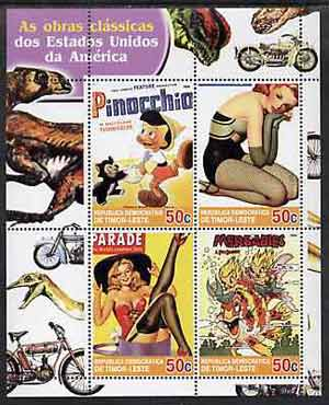 Timor 2004 Classics from the USA #02 perf sheetlet containing 4 values (Pinocchio & Pin-ups) unmounted mint