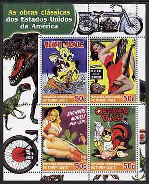 Timor 2004 Classics from the USA #03 perf sheetlet containing 4 values (Disney Beach Picnic & Pin-ups) unmounted mint