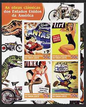 Timor 2004 Classics from the USA #04 imperf sheetlet containing 4 values (Fantasia & Pin-ups) unmounted mint, stamps on motorbikes, stamps on dinosaurs, stamps on disney, stamps on pin-ups, stamps on women