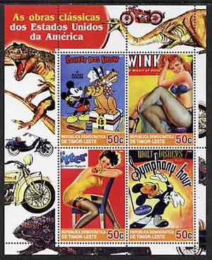 Timor 2004 Classics from the USA #05 perf sheetlet containing 4 values (Disney Dog Show, Symphony Hour & Pin-ups) unmounted mint