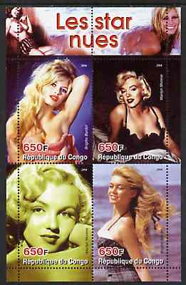 Congo 2004 The Nude Star - Marilyn Monroe & Brigitte Bardot perf sheetlet containing 4 values unmounted mint