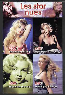 Congo 2004 The Nude Star - Marilyn Monroe & Brigitte Bardot imperf sheetlet containing 4 values unmounted mint