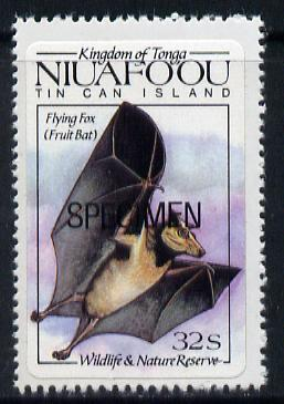 Tonga - Niuafo'ou 1984 Wildlife & Nature Reserve self-adhesive 32s (Flying Fox) opt'd SPECIMEN, as SG 43 unmounted mint