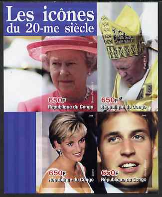 Congo 2004 Icons of the 20th Century #01 imperf sheetlet containing 4 values (The Queen, Diana, Pope & Prince William) unmounted mint