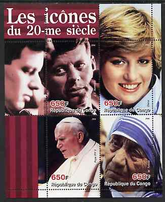 Congo 2004 Icons of the 20th Century #02 perf sheetlet containing 4 values (Diana, Pope, Mother Teresa & JFK) unmounted mint