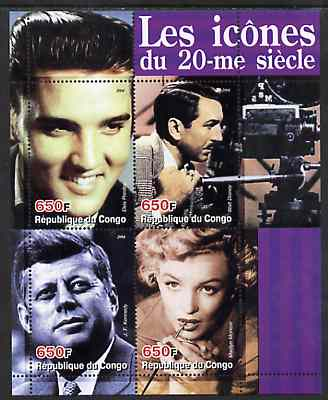 Congo 2004 Icons of the 20th Century #03 perf sheetlet containing 4 values (Elvis, Disney, JFK & Marilyn) unmounted mint