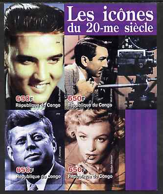 Congo 2004 Icons of the 20th Century #03 imperf sheetlet containing 4 values (Elvis, Disney, JFK & Marilyn) unmounted mint