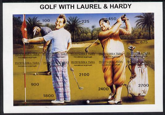 Touva 1995 Golf with Laurel & Hardy composite sheet containing complete imperf set of 10 unmounted mint