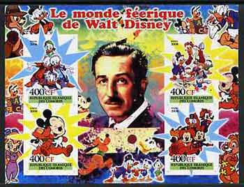 Comoro Islands 2004 The Fairy tale World of Walt Disney #2 imperf sheetlet containing 4 values unmounted mint