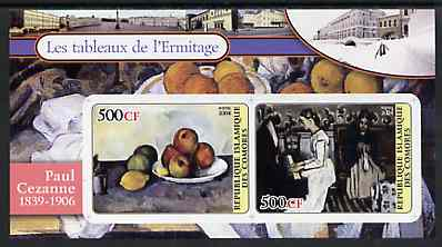 Comoro Islands 2004 Paintings in the Hermitage Museum #1 Paul Cezanne imperf sheetlet containing 2 values unmounted mint