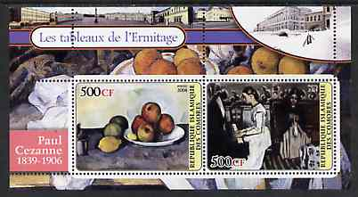 Comoro Islands 2004 Paintings in the Hermitage Museum #1 Paul Cezanne perf sheetlet containing 2 values unmounted mint