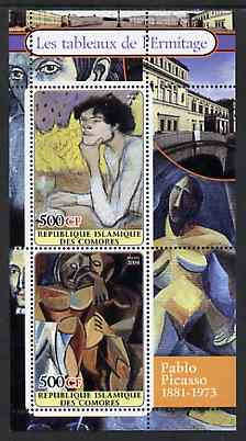 Comoro Islands 2004 Paintings in the Hermitage Museum #2 Pablo Picasso perf sheetlet containing 2 values unmounted mint
