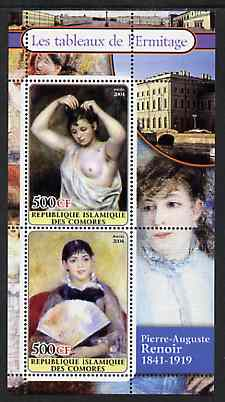 Comoro Islands 2004 Paintings in the Hermitage Museum #4 Pierre-Auguste Renoir perf sheetlet containing 2 values unmounted mint