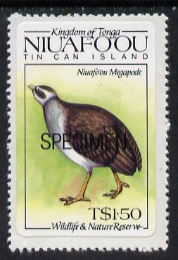 Tonga - Niuafo'ou 1984 Wildlife & Nature Reserve self-adhesive T$1.50 (Megapode) opt'd SPECIMEN, as SG 45 unmounted mint