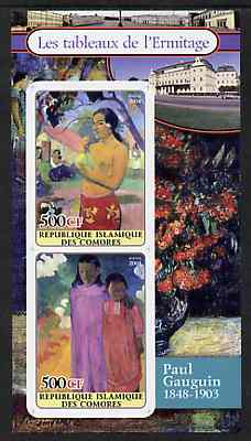 Comoro Islands 2004 Paintings in the Hermitage Museum #5 Paul Gauguin imperf sheetlet containing 2 values unmounted mint