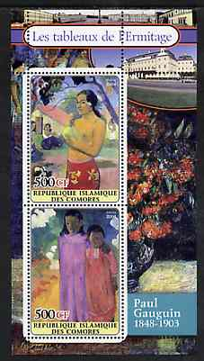 Comoro Islands 2004 Paintings in the Hermitage Museum #5 Paul Gauguin perf sheetlet containing 2 values unmounted mint
