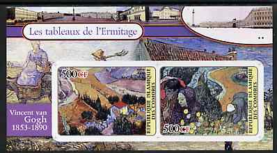 Comoro Islands 2004 Paintings in the Hermitage Museum #6 Vincent Van Gogh imperf sheetlet containing 2 values unmounted mint
