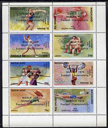 Nagaland 1974 World Cup Football opt'd on 1972 Munich Olympic Games perf sheetlet containing complete set of 8 values unmounted mint