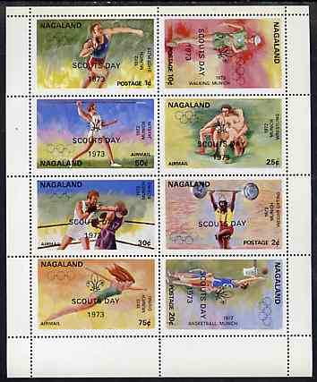 Nagaland 1973 Scouts Day opt'd on 1972 Munich Olympic Games perf sheetlet containing complete set of 8 values unmounted mint