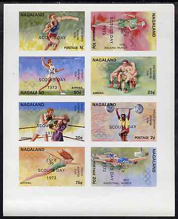 Nagaland 1973 Scouts Day opt'd on 1972 Munich Olympic Games imperf sheetlet containing complete set of 8 values unmounted mint