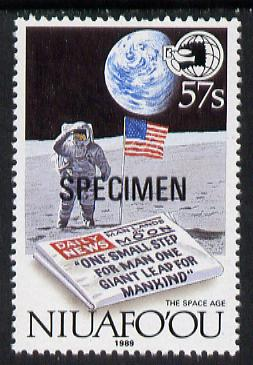 Tonga - Niuafo'ou 1989 EXPO '89 Stamp Exhibition opt'd SPECIMEN in black (Man on Moon & Newspaper) unmounted mint, as SG 131