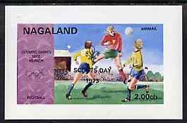 Nagaland 1973 Scouts Day opt'd on 1972 Munich Olympic Games imperf souvenir sheet (Football) unmounted mint