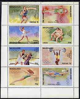 Nagaland 1972 Munich Olympic Games perf sheetlet containing complete set of 8 values unmounted mint