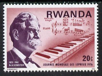 Rwanda 1976 Dr Schweitzer & Piano keyboard & Music Score 20c from World Leprosy set, SG 709 unmounted mint*