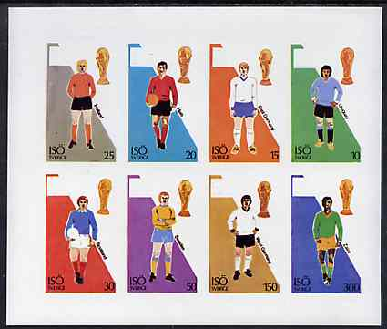 Iso - Sweden 1974? Football World Cup imperf sheetlet containing set of 8 values unmounted mint