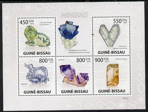 Guinea - Bissau 2009 Minerals perf sheetlet containing 5 values unmounted mint