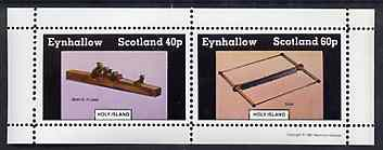 Eynhallow 1981 Early Woodworking Tools perf sheetlet containing set of 2 values unmounted mint
