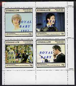 Eynhallow 1982 Royal Baby opt on Royal Wedding perf sheetlet containing set of 4 values unmounted mint