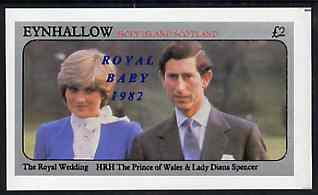 Eynhallow 1982 Royal Baby opt on Royal Wedding imperf deluxe sheet (�2 value) unmounted mint