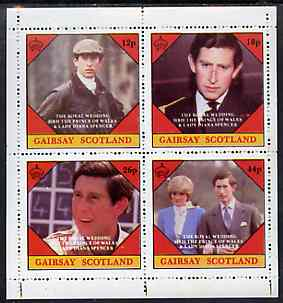 Gairsay 1981 Royal Wedding perf sheetlet containing set of 4 values unmounted mint