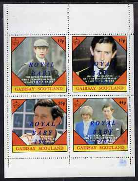Gairsay 1982 Royal Baby opt on Royal Wedding perf sheetlet containing set of 4 values unmounted mint
