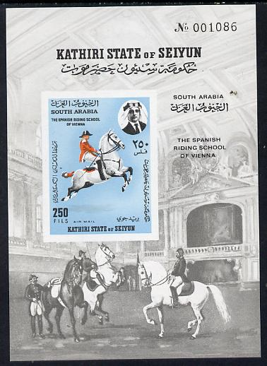 Aden - Kathiri 1967 Spanish Horse Riding School imperf m/sheet unmounted mint Mi BL 10B