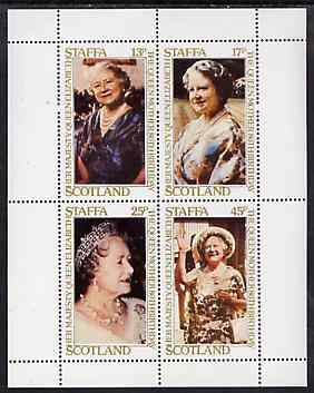 Staffa 1980 Queen Mother's 80th Birthday perf sheetlet containing set of 4 values unmounted mint