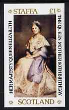 Staffa 1980 Queen Mothers 80th Birthday imperf souvenir sheet (�1 value) unmounted mint