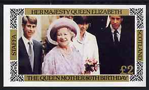 Staffa 1980 Queen Mothers 80th Birthday imperf deluxe sheet (�2 value) unmounted mint