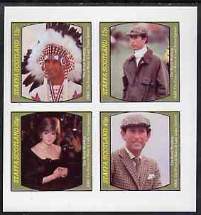 Staffa 1981 Royal Wedding imperf sheetlet containing set of 4 values unmounted mint